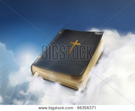 Bible, old book in the clouds vector illustration
