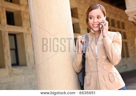 Pretty Girl On Cell Phone School