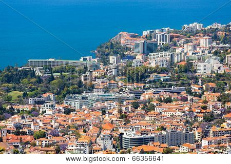 Aerial View Of The Westerly Side Of Funchal With Many Hotels; Madeira Island