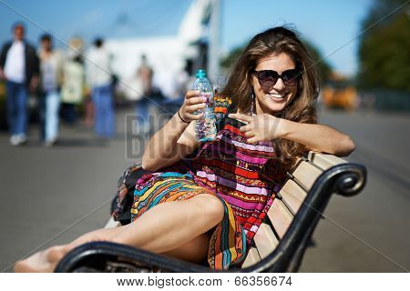 Attractive Girl Whit Bottle Of Water