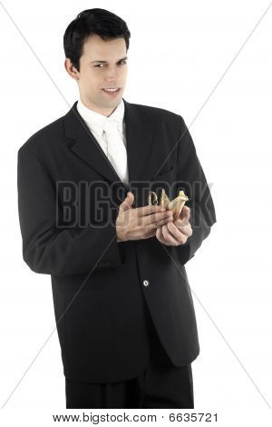 Business Man With Magic Lamp