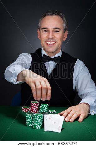 Portrait Of A Happy Croupier