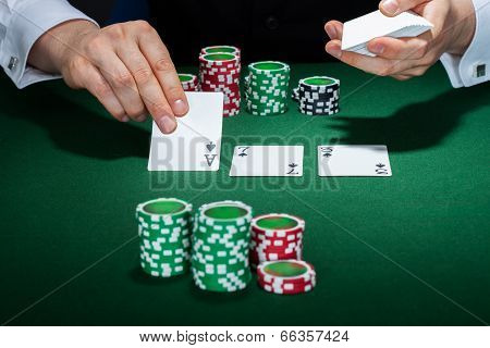 Croupier Arranging Cards