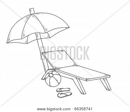 Parasol Flops, Ball And Chair