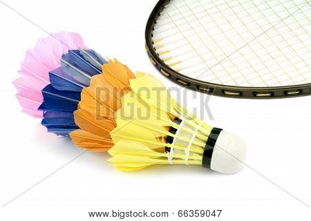 Badminton shutlecocks and badminton racket
