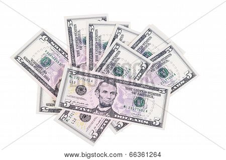 The Five Dollars Isolated On White