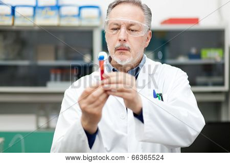 Man at work in a chemical laboratory