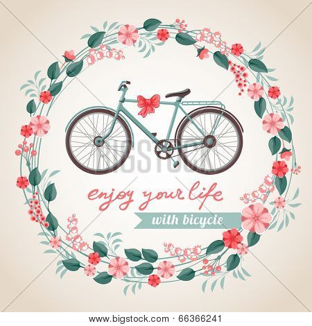 Vintage postcard with the bicycle in floral wreath.