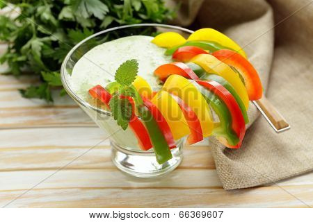 Vegetable appetizer yoghurt dip with bell peppers