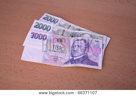 Czech Money On Table