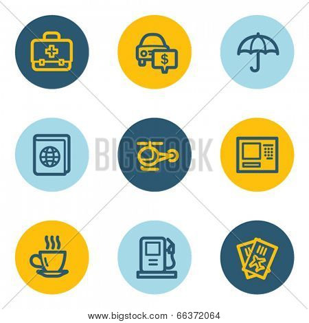 Travel web icon set 4, blue and yellow circle buttons
