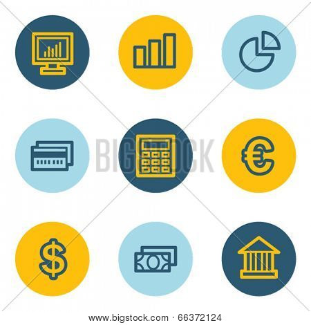 Finance web icon set 1, blue and yellow circle buttons