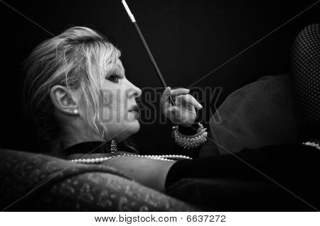 Profile Of Woman On Sofa