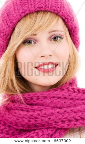 Happy Teenage Girl In Hat