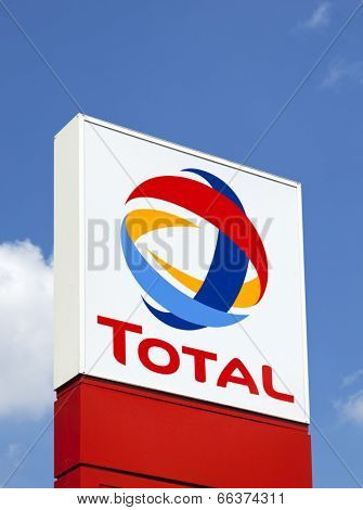 Dusseldorf, Germany - June 2, 2011: Total sign identifying a gas station. Total S.A. is a French multinational oil company and one of the six