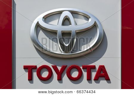Dusseldorf, Germany - June 12, 2011: Toyota logo at a car retailer's building. Toyota Motor Co is world's largest automobile manufacturer by sales and production headquartered in Toyota, Japan.