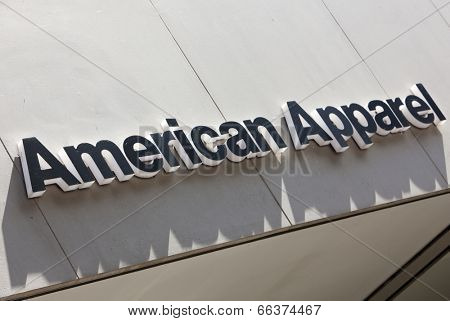 Dusseldorf, Germany - August 20, 2011: American Apparel signage above store entrance. American Apparel is a clothing manufacturer, wholesaler and retailer headquartered in Los Angeles, California..