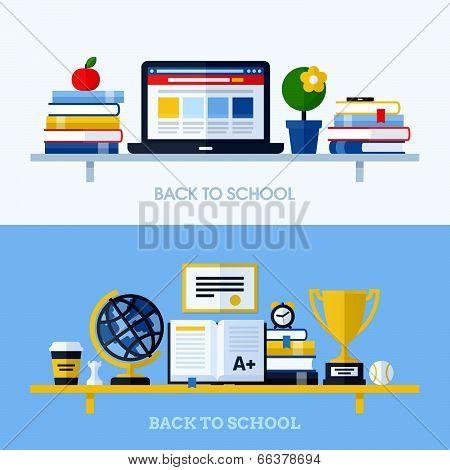 School Flat Design Vector Illustration With Bookshelf And School Supplies