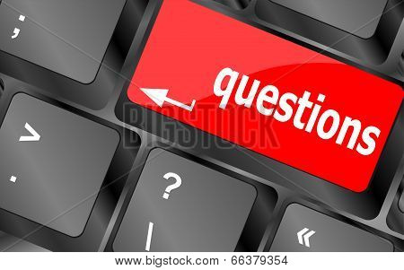 Computer Keyboard Key With Key Questions, Closeup