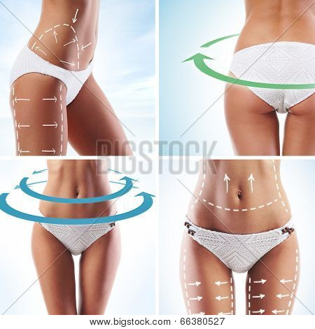 Sporty female body with the drawing arrows isolated on white. Nutrition, healthy eating and sport concept.