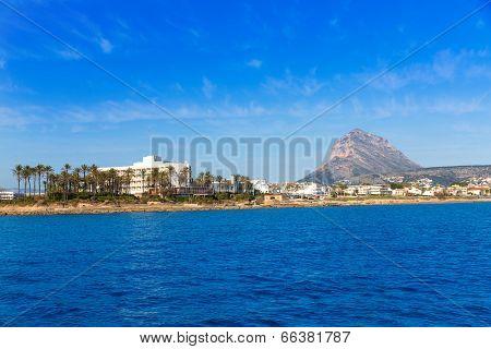 Javea Xabia skyline view from Mediterranean sea  Alicante Spain