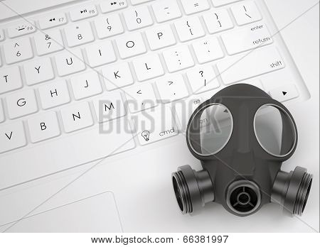 Gas mask on the keyboard