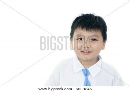 Cheerful elementary schoolboy