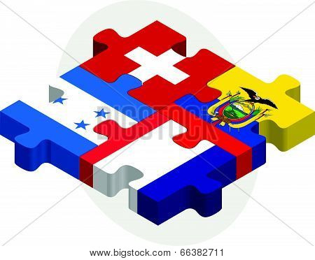 Vector illustration of Swiss,  Ecuador, French and Honduras Flags in puzzle isolated on white backgr