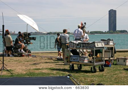 Crew Filming On Lakeshore