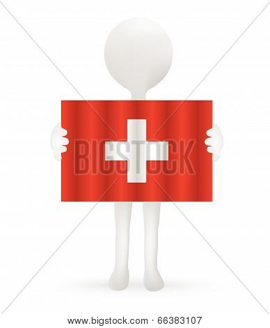EPS Vector 10 - small 3d man holding a Swiss Flag