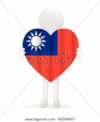 EPS Vector 10 - small 3d man holding a Taiwanese Flag