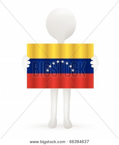 EPS Vector 10 - small 3d man holding a Venezuelan Flag