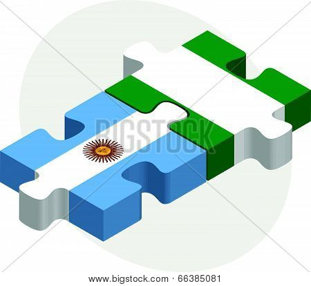 Vector illustration of Argentinian and Nigerian Flags in puzzle isolated on white background