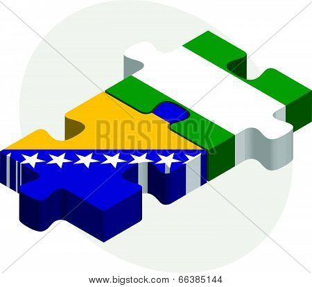 Vector illustration of Bosnia Herzegovinan and Nigerian Flags in puzzle isolated on white background