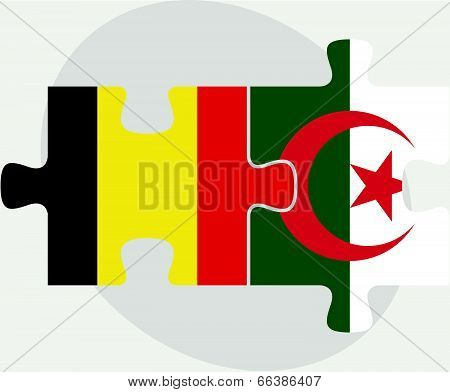 Belgian and Algerian Flags in puzzle isolated on white background