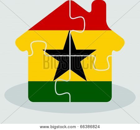 house home icon with Ghanaian flag in puzzle isolated on white background