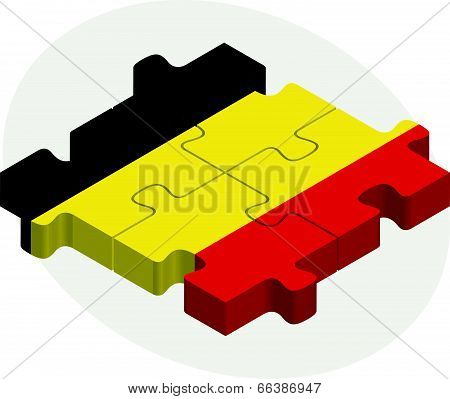 Belgian Flag in puzzle isolated on white background