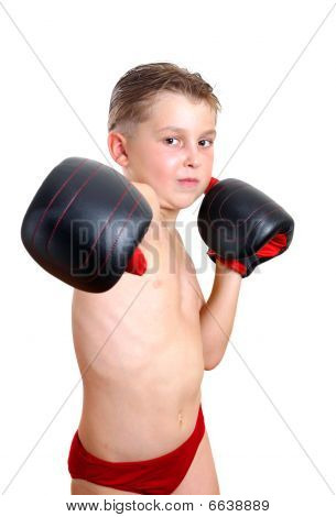 Boy Boxer Throwing A Punch