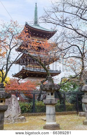 Five Storied Pagoda of Kaneiji Temple at Ueno Park in Tokyo