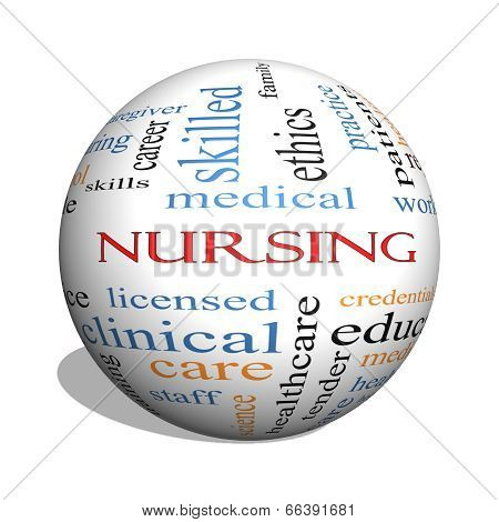 Nursing 3D Sphere Word Cloud Concept