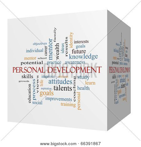 Personal Development 3D Cube Word Cloud Concept