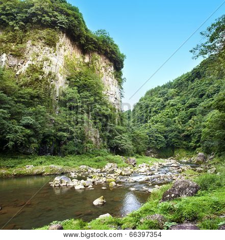 Beautiful canyon Takachiho with a blue river, Japan - Kyushu island