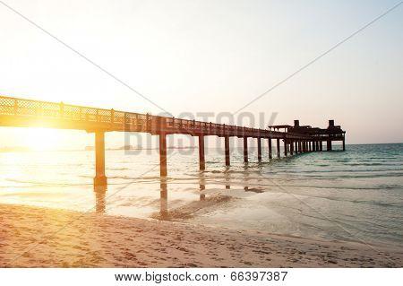 Pier on the Dubai Jumeirah beach at dusk