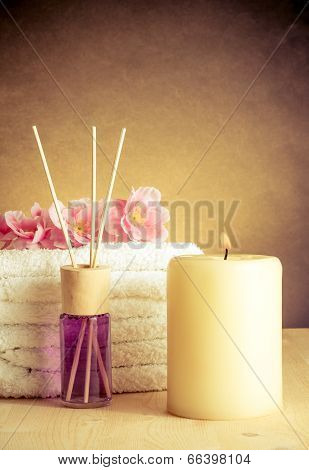 Spa Massage Border Background With Towel Stacked, Perfume Diffuser