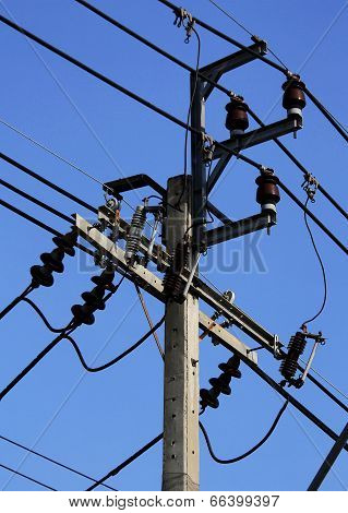 Electric Pole And High Voltage Equipment At Thailand