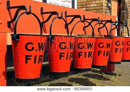 GWR red tin fire buckets, Hampton Loade.
