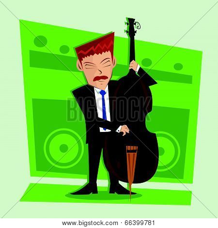Smooth and elegant jazz contra bass player