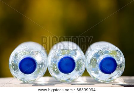 Mineral Water Bottles On Nature Background