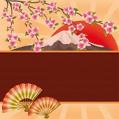 foto of sakura  - Oriental background with two folding fans mountain red saun and branch of blossoming sakura  - JPG