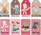 pic of parti poodle  - cartoon animal tea time card vector eps file and card set - JPG